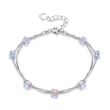 Cubic Colorful Crystals Double Chains Crystal from Swarovski Element Jewelry Silver 925 Fashion Bracelet and Customized