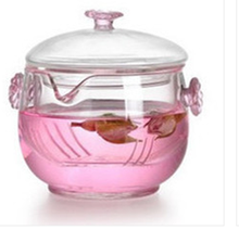 Heat-resistant glass teapot Plum flower cover bowl Binaural pot