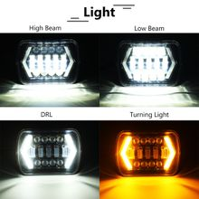 7x6 inch LED Headlight Hi-Lo Beam Halo DRL H6014 H6054 For Toyota Jeep Cherokee XJ