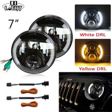 7inch Round Led Car Headlights with White Angelic Eyes 80W The Daytime Running Lights Waterproof for LADA NIVA Toyota