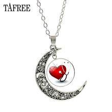 TAFREE Red Heart & Stethoscope Pendant Necklace New Creative Health Statement Necklaces Nurse Doctor Souvenir Badge Jewelry HL02