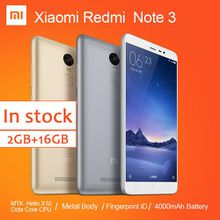 Xiaomi Redmi Note 3 FDD Cell Phone MTK Helio X10 Octa Core MIUI7 Fingerprint Metal Body 5.5'' 2GB 16GB 4000mAh