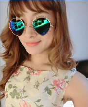 New 2015 Fashion Colorful Heart-Shaped Mercury Reflective Triangle Round Hot Metal Hollow Frame Sunglasses Glasses