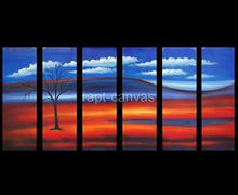 6 panels sunset sky tree art handmade abstract oil painting on canvas modern original directly ye0068