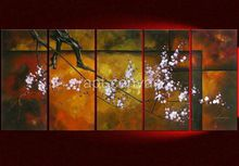 5 panels plum flowers art abstract oil painting on canvas modern wall deoc original directly ye0012