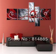 Large!! 5 Panel ,Free Shipping !! Handmade Modern Oil Painting On Canvas Wall Art ,Top Home Decoration JYJLV167
