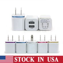 For Iphone 7 S8 Metal Dual USB Wall Charger 5V 2.1A 1A Travel Adapter US EU plug AC Power Adapter 2 port