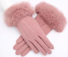 Women Winter Thermal Wool Finger Gloves Rabbit Fur Lace female Mittens Fashion Elegant Girl Warn Gloves Multi styles available