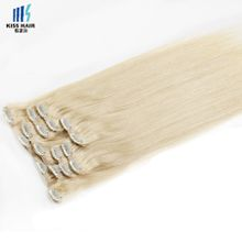 Full Head Clip in Human Hair Extensions 18 20 inches Color 613 Blonde Extensions Silky Straight Indian Hair