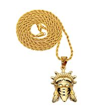 18K Gold Plated mask goddess pendant necklace hip hop jewelry for men&women