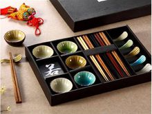 Japanese Ceramic Sushi Serving Set for 5 Person with Snacks Sauce Dishes Chopsticks Rest Mixed Color Crackle Glaze Designs