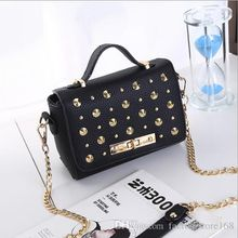 Literary style women whole rivets tote handbags Magnetic buckle shoulder bags chain designer crossbody bags for ladies