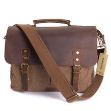 AUGUR Men Handbags 15.6 Inch Leather Vintage Messenger Shoulder Bag Canvas Satchel Laptops