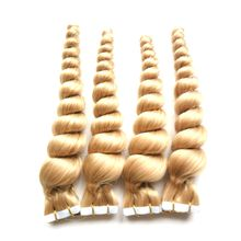 Color #27 Strawberry Blonde Brazilian Loose Wave Hair Skin Weft Tape Hair Extensions 80 pcs 200g cheap tape in hair extensions
