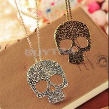 2014 Unique Design Punk Style Women Necklaces Skull Pendant Necklaces Women Alloy Fashion Jewelry Antique Silver Bronze