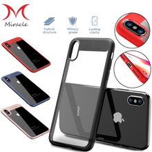 For iPhone X Case 8 7 6s Plus Shockproof Plating Clear Slim Hybrid Bumper Acrylic Cover Phone Protector