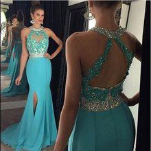 Turquoise Mermaid Prom dresses 2017 Long High Neck Appliqued Beading Chiffon Evening Dress Party Gown vestido de festa