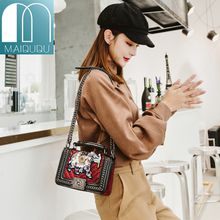 MAIDUDU Embroidery Appliques Beading Elephant Pattern Female Handbags Chain Shining Flap 2018 Fashion Women's Shoulder Messenger Bags Small