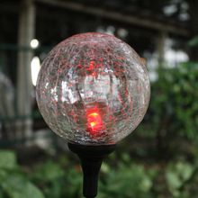 "Solar lighting outdoor Garden Decorative Solar Garden Stake Light Solar Northern Lights Sphere with 4"" Crackle Glass Ball"