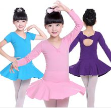 Kids Girls Classic Long Sleeve Dance Ballet Dress Bowknot Design Leotard