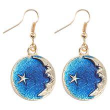 Free shipping! Sun small fresh blue stars moon 925 earrings asymmetrical 100 size geometric round long wholesale pure silver jewelry