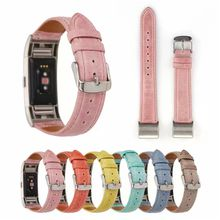 For Fitbit Charge 2 Leather Band Replacement Genuine Leather Band Smart Bracelet Strap Light Color Style