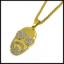 2018 New Products Hiphop Style Long Chain Necklace Sunglasses Pendant Necklace for Man Gold Plated Jewelry