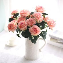roses 10 heads 1 bounch artificial hawaiian flowers organza flowers cheap silk flowers artificial wedding bouquets flores bridal bouquet