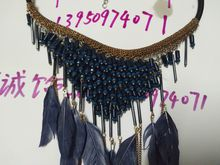 Black glass imitation pearl + feather chain fringed short fashion necklace jewelry