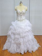 Real Photo Vinoprom Ball Gown Scoop Ruffle Organza Beaded Wedding Gown Bridal Dresses 2018