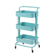 Maojia 3 Tier Utility Carts with Wheels Kitchen Organizer Storage Rack(Blue)