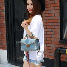 2018 Shoulder Bags Hot Sale Bags Blue Women Red Black Lilac Grey 2017 New Korean Fashion Bag Strap Rivet Small Diagonal Chain All-match Tide
