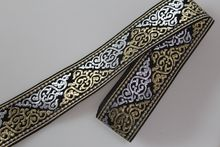 Customiz wholesale Polyester Woven Jacquard Ribbon black totem pattern for curtain and clothing accessory LS-0566