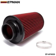 "EPMAN 3"" Universal Chrome Inlet Long Ram Cold Intake Round Cone Air Filter Red Type EP-AF002G"