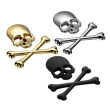 3D Skull Metal ABS Skeleton Crossbones Car Motorcycle Sticker Label Skull Emblem Badge car styling stickers decal accessories