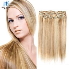 Full Head Clip in Human Hair Extensions Piano Color P27/613 Blonde Extensions Silky Straight Mix Color Virgin Remy Hair