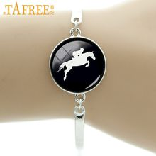 TAFREE Horse Racing silhouette bracelet vintage horseback riding jewelry gifts for equestrians Derby Day black hole T783