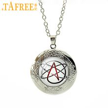 TAFREE Atheist symbol Movement locket necklace Alphabet Letters Atheism logo gifts Jewelry initials T523