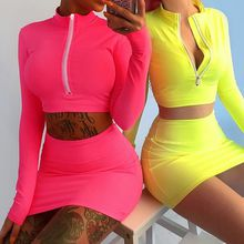 Long Sleeve High Neck Zipper Bodycon Crop Tops Mini Skirt 2 Pieces Sets 2018 Autumn Winter Women Fashion Solid Set