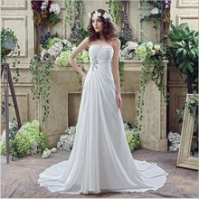 2017 New Arrival Strapless Wedding Dresses Bridal Gown Lace Up with Train Chiffon Sexy Robe de Mariage A Line Novia DH004