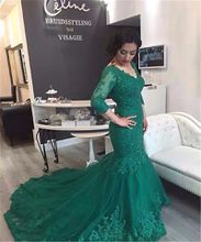 Green V Neck Mermaid Elegant Prom Dresses Three Quarter Sleeves Women Wear Gown Sweep Train Appliques Lace Beaded Evening Dress