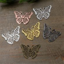 100 Pcs 25*40mm Butterfly Scrapbook Embellishments 7 colors Brass Butterfly Charms DIY Butterfly Embellishments For Scrapbooking