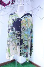 FR05 Hot Womens Fashion Elegant Faux 100% Nature Silk printing shirt