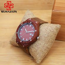 SIHAIXN Wooden Men Watch Round Quartz Male Top Brand Design Watch Calendar Luminous Fashion Leather Watches Relogio Clock