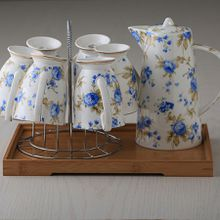 New Arrivals Hotsale GUCI Bone China Ceramic Coffee/Tea/Water Cup And Pot 7 Pieces Sets European High Quality Fashion Household Gift