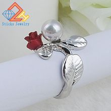 Wedding Ring Green Fashionable Color Genuine Flower Leaf Branch Ring Red Roes Pearl Jewelry Bridal Rings Accessories