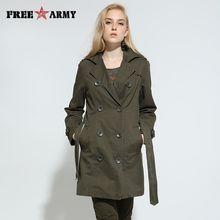 FreeArmy Brand Trench coat Women Jacket Mandarin Collar England Style Regular Military Lady Jacket GS76366