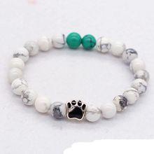 2017 New Arrival bead bracelets Natural tiger eye beaded bracelets volcanic stone drops dog paw bracelets