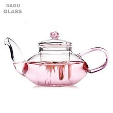 2018 Hot selling with high quality borocilicate glass teapot with infuser,Pink handle and rose lid