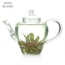 2018 Hot selling Handmade 700ml Glass Teapot , For Blooming Tea And Flower and Fruit Tea , Pink handle and rose lid